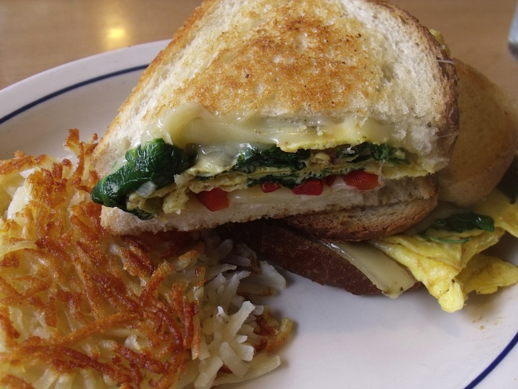 spinach roasted pepper and cheese griddle melt
