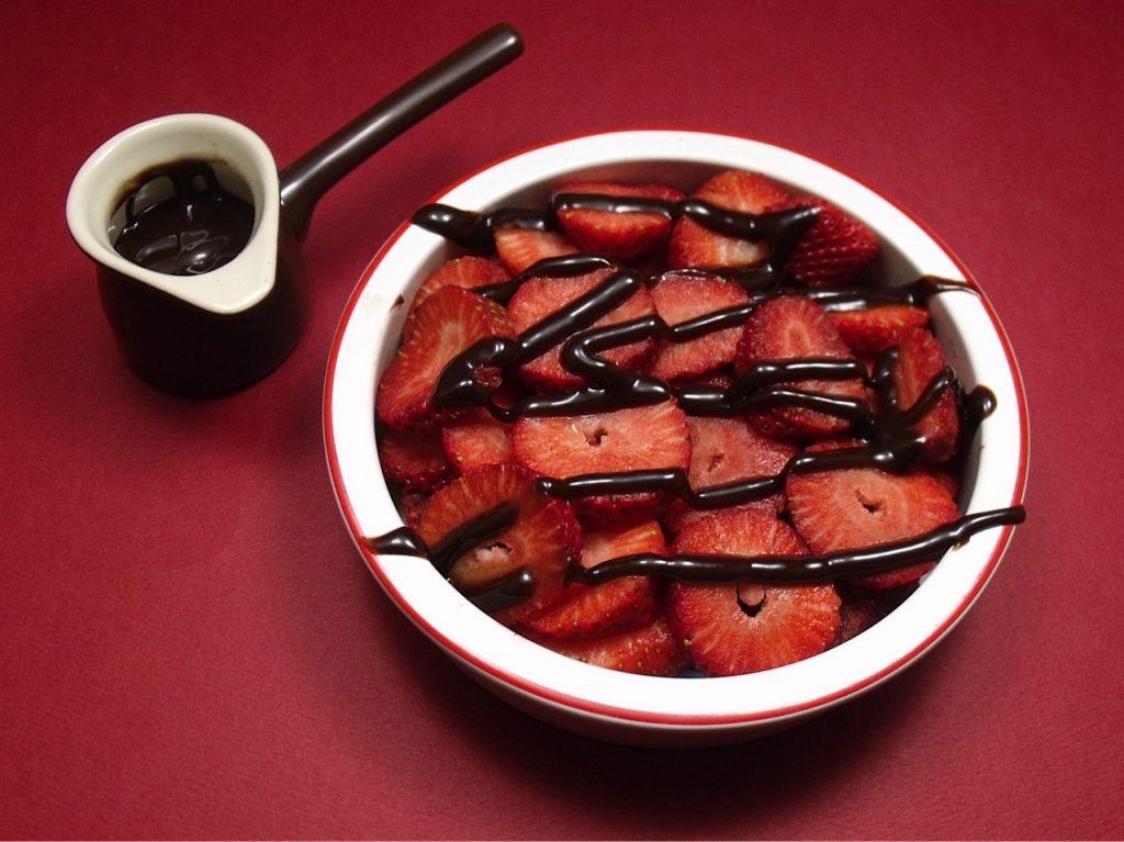 strawberries, chocolate sauce