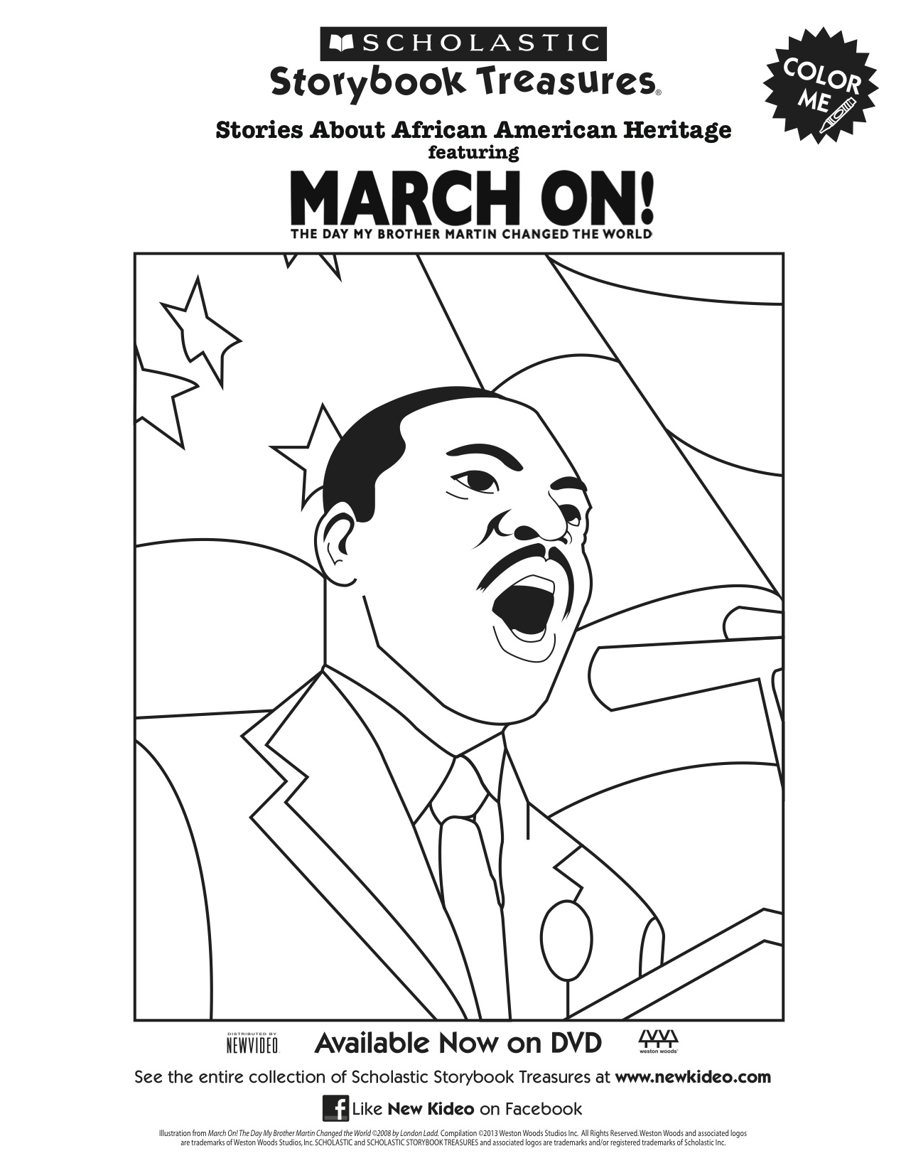 Scholastic Printable March On! Martin Luther King Jr. Coloring Page ...