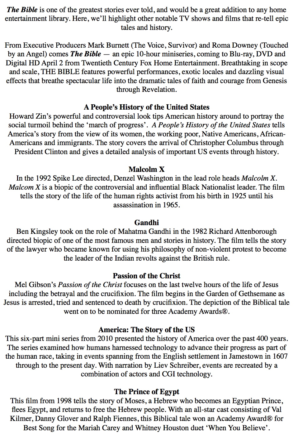 The Bible Greatest Stories Ever Told Feature