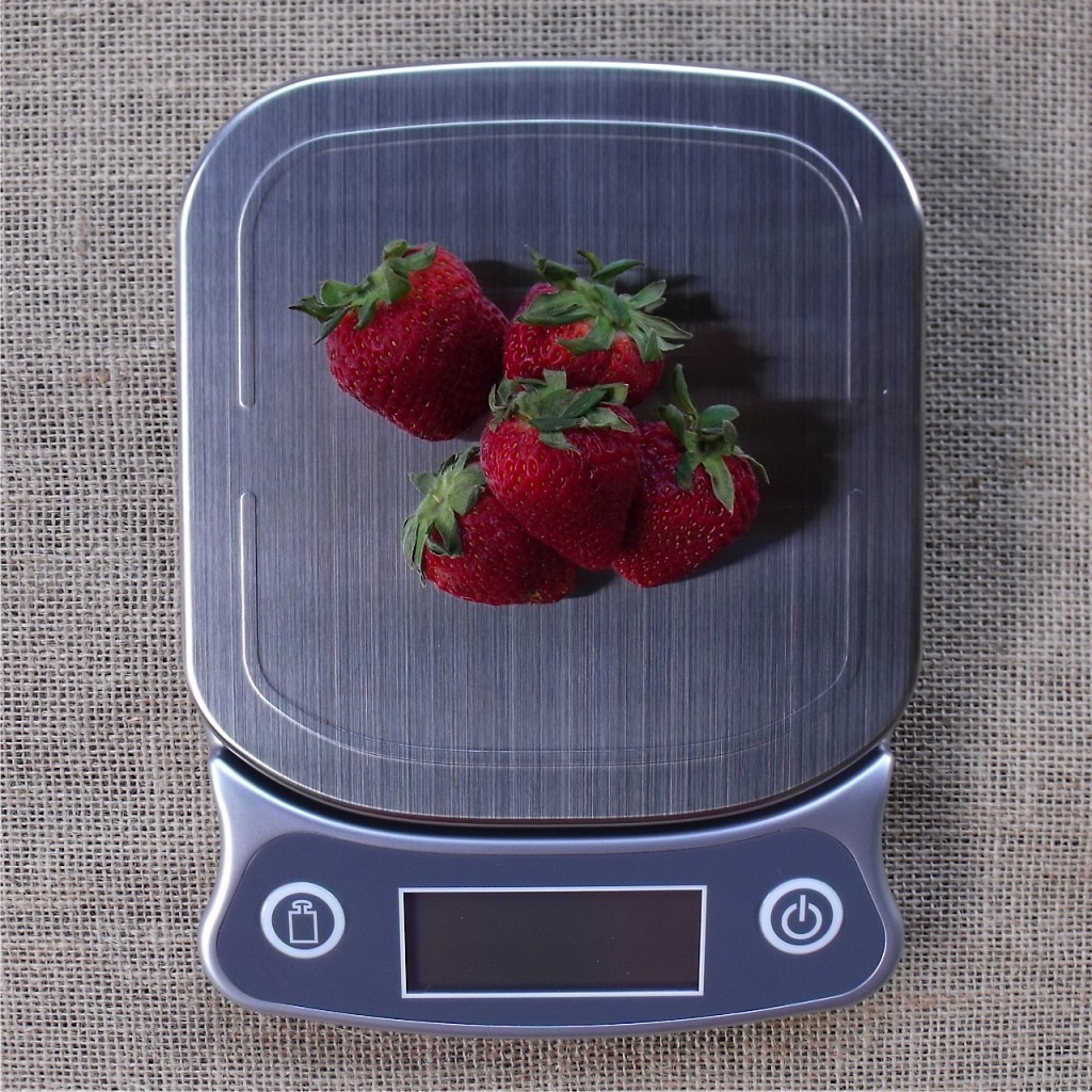 strawberries on kitchen scale