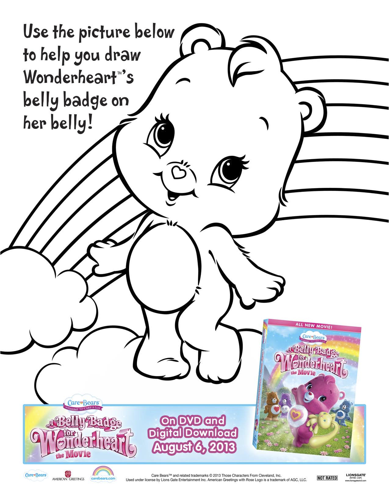 Printable coloring pages care bears - Care Bears A Belly Badge For Wonderheart Activity Sheet