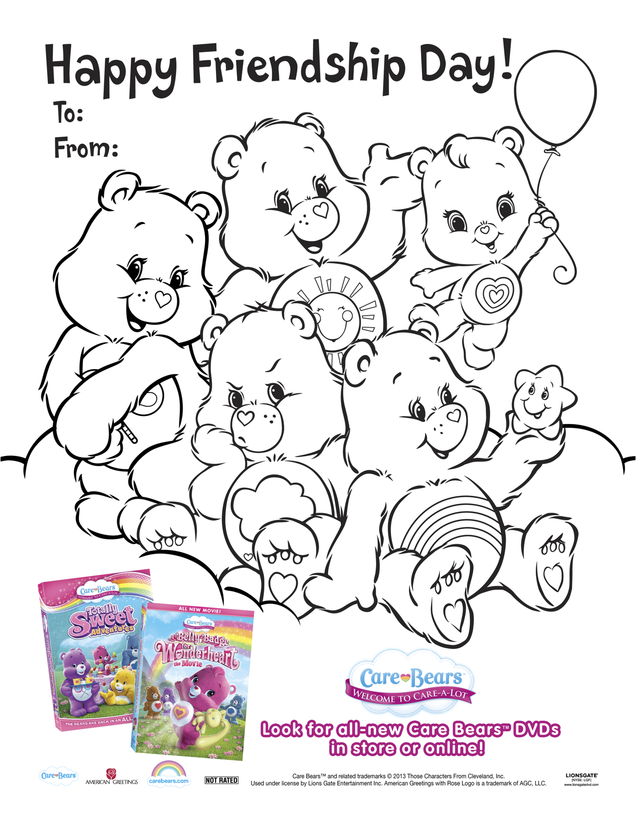 Care bears printable friendship day coloring page mama likes this