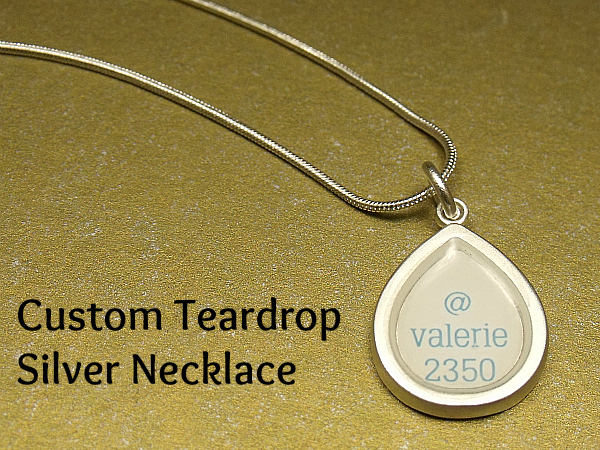 CafePress Custom Teardrop Silver Necklace