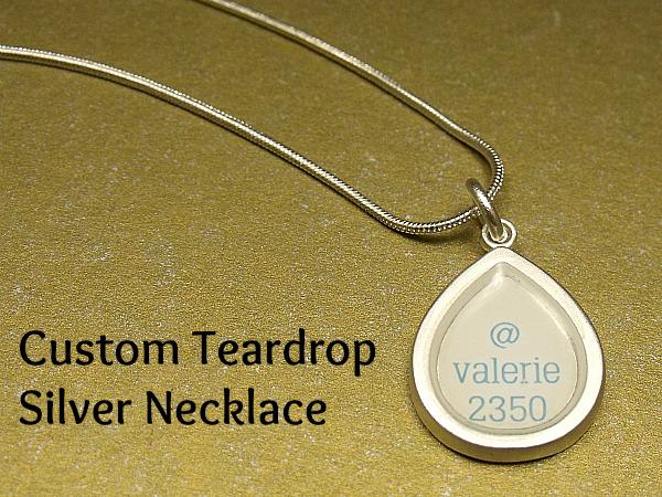 CafePress Custom Teardrop Silver Necklace