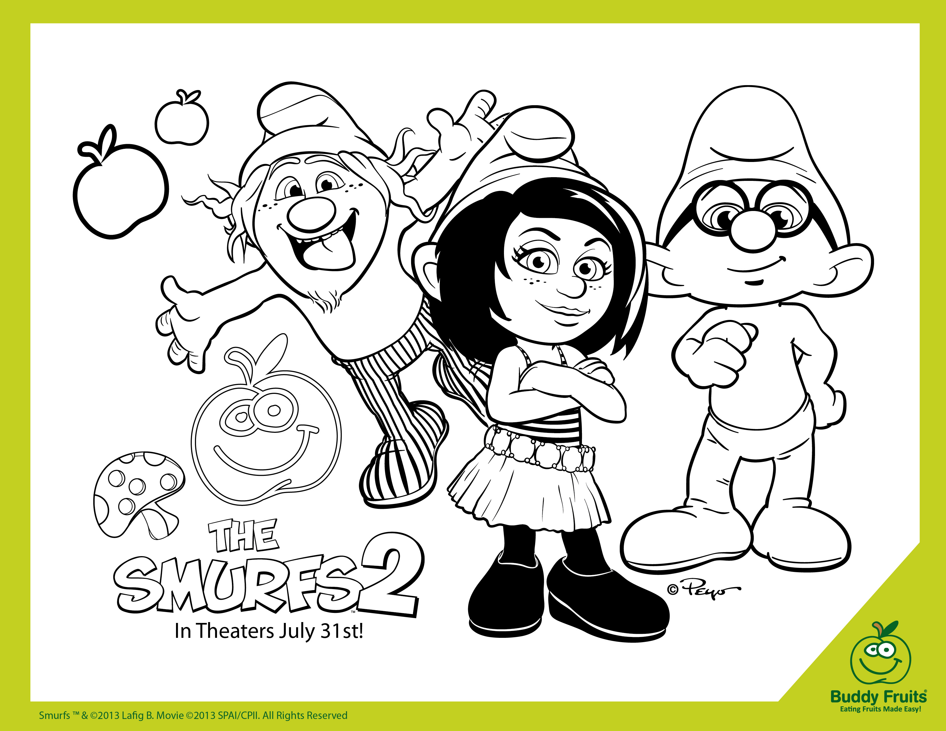 Smurfs Coloring Pages Coloring Page Smurf Coloring Pages Smurf ... | 2550x3300