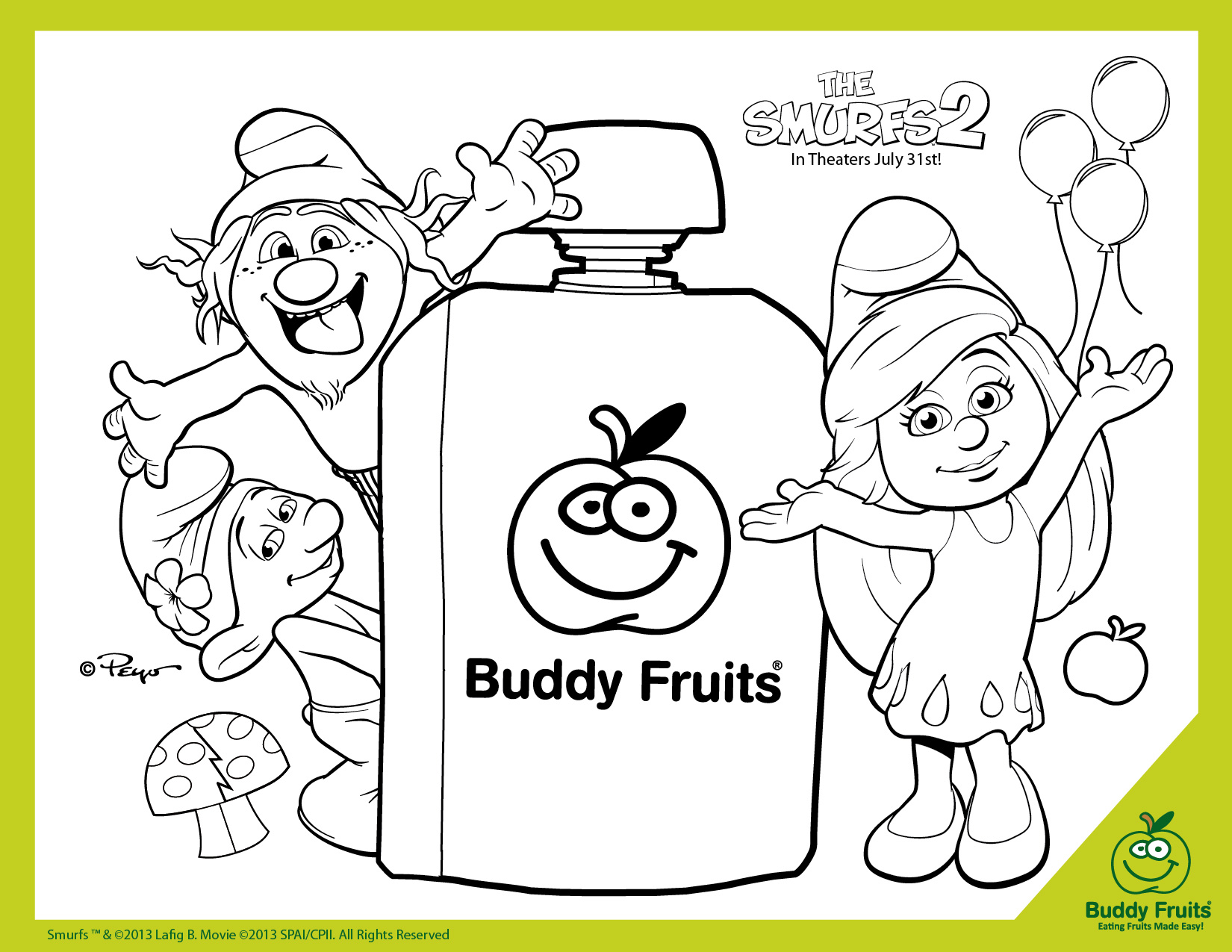 Free Printable The Smurfs 2 Coloring Page