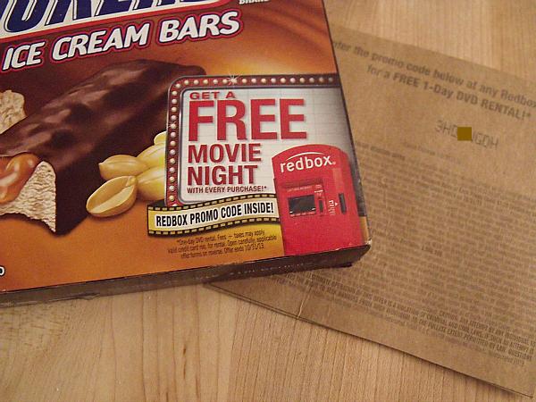 Mars Frozen Treats RedBox Movie Night Promotional Packaging