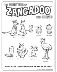 Zangadoo & Friends Printable Coloring Sheet