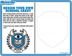 Monsters University Printable Design Your Own School Crest Coloring Sheet