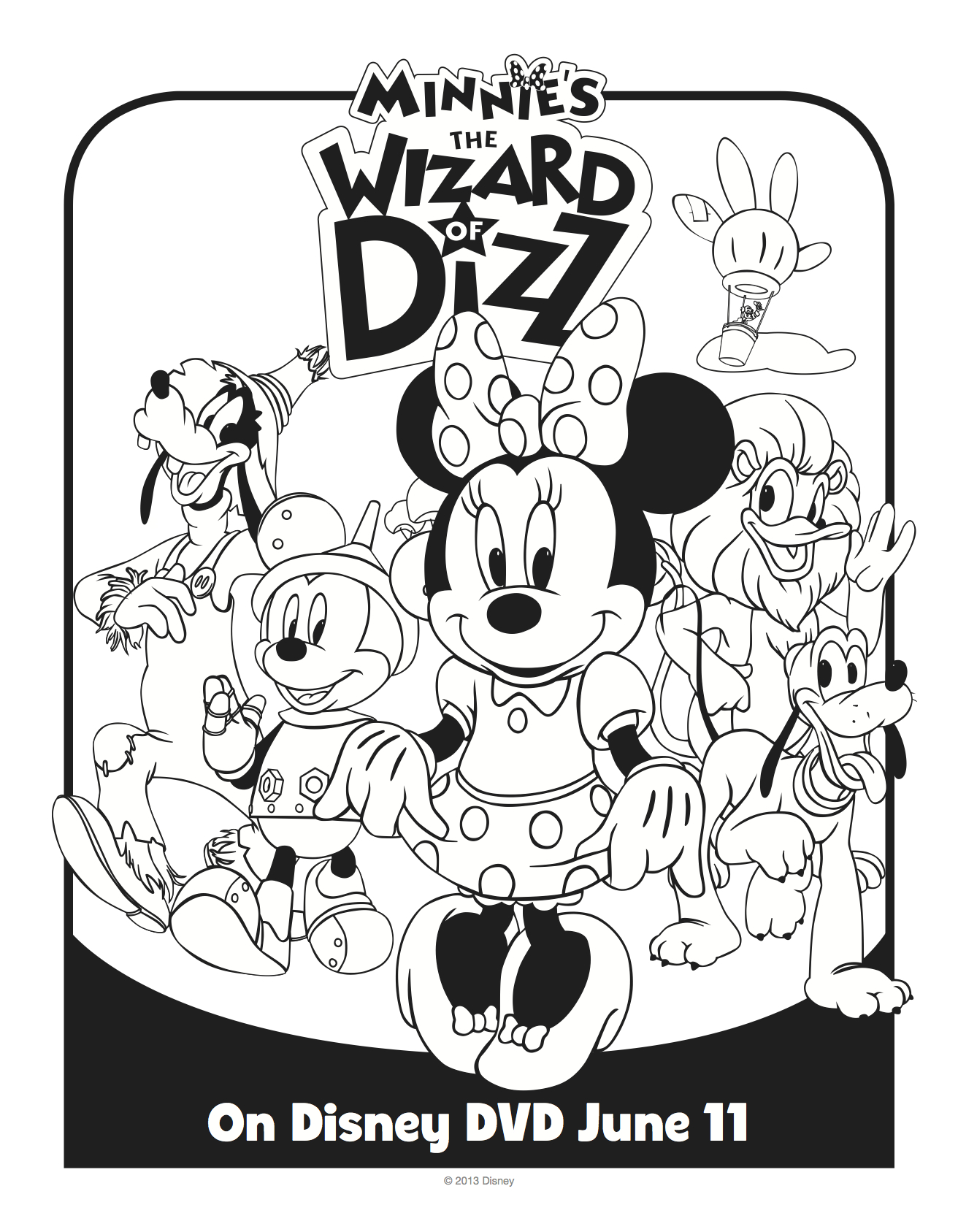 Disney Minnie Mouse Wizard of Dizz Printable Coloring Sheet