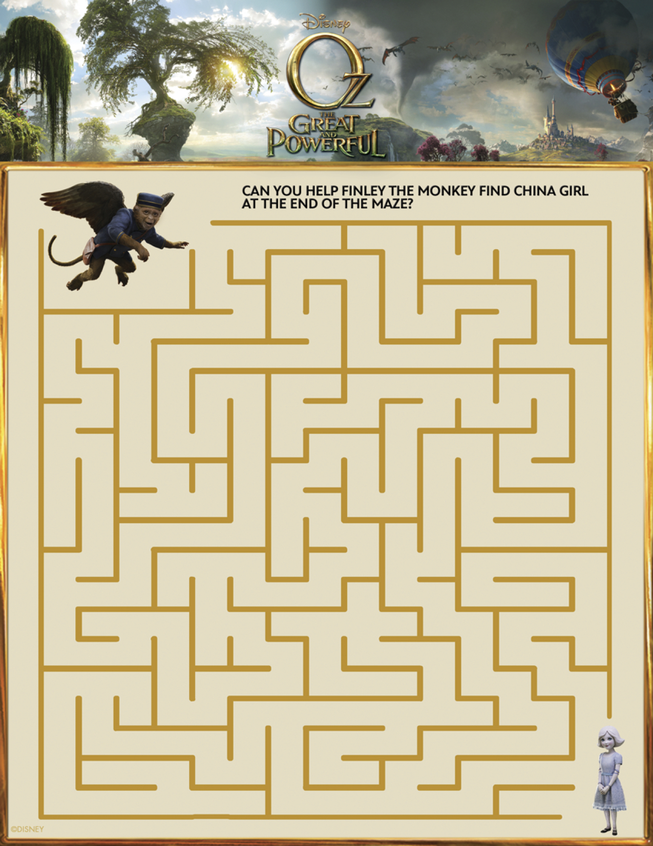 Oz The Great and Powerful Printable Maze