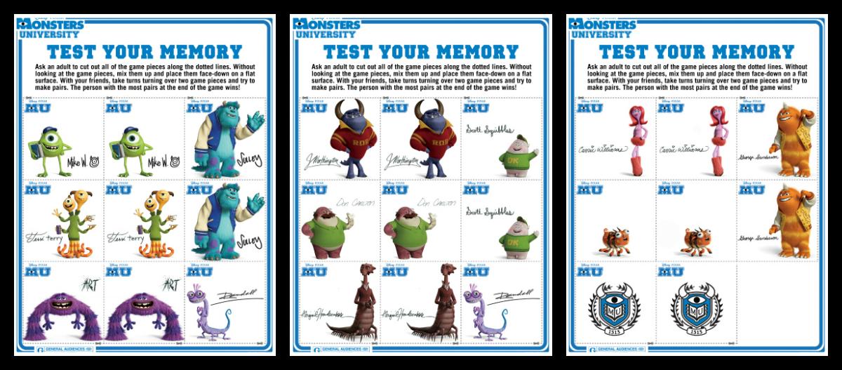 Monsters University Printable Memory Game