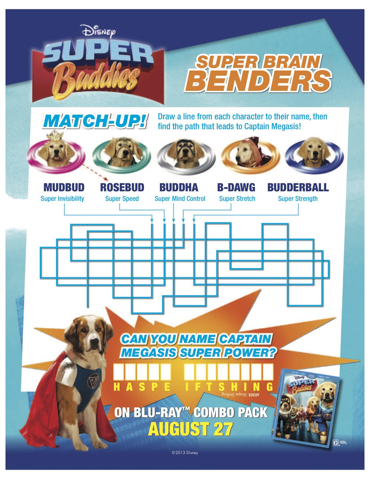 Disney Super Buddies Printable Brain Bender Activity