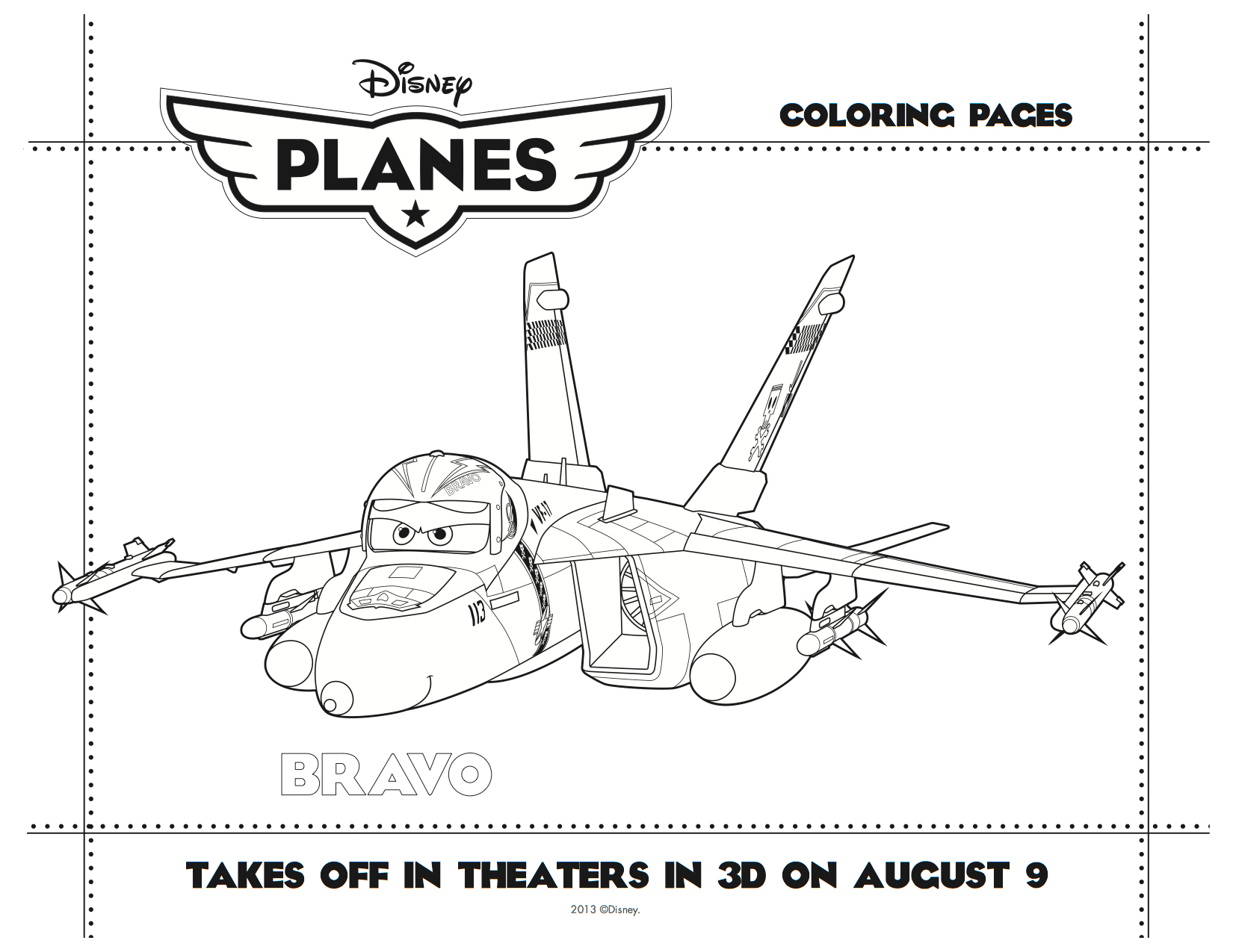disney planes printable bravo coloring sheet