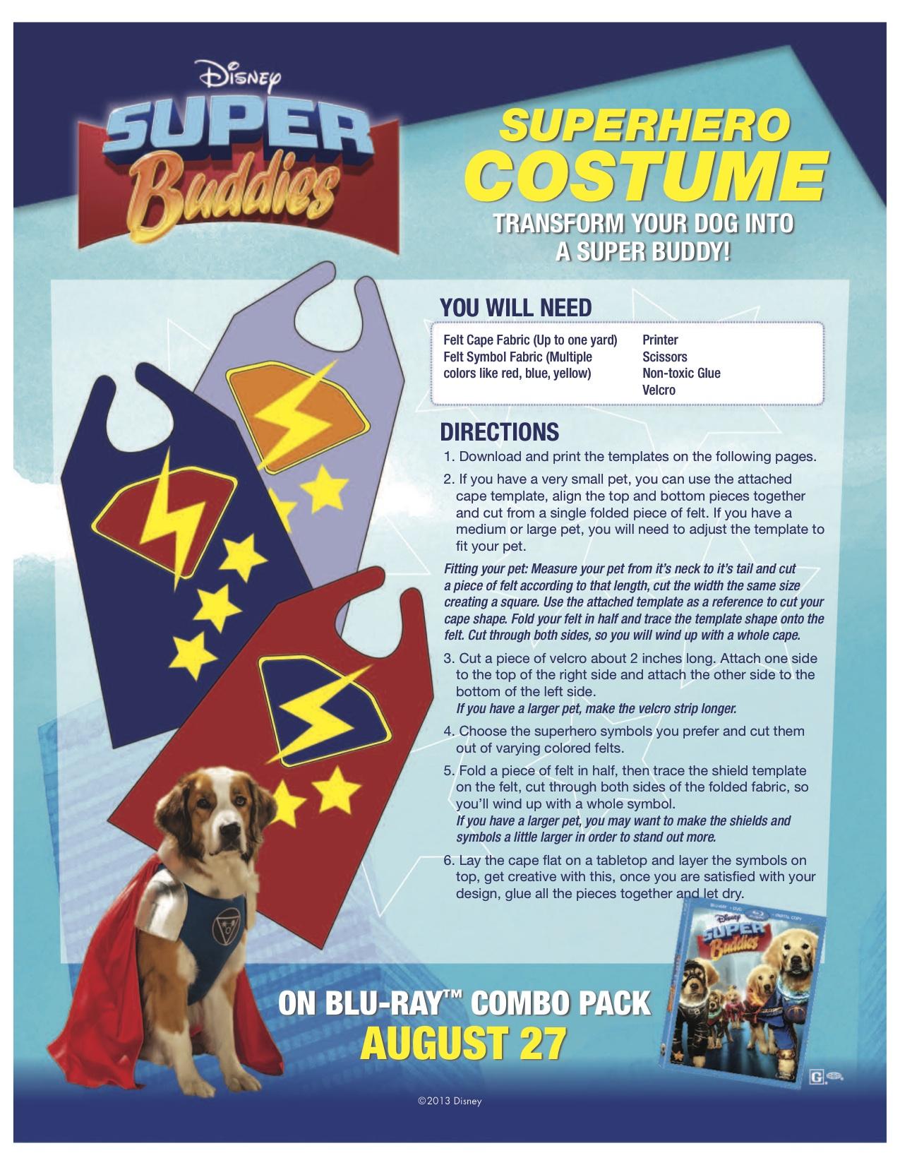 Disney DIY Super Hero Costume for Dogs