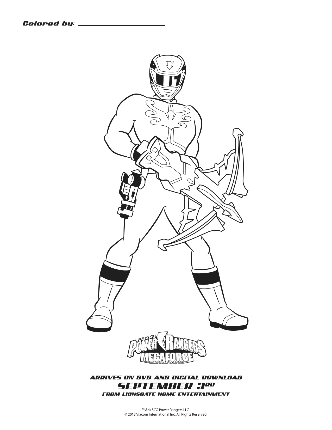Power Rangers Megaforce Blue Ranger Coloring Sheet