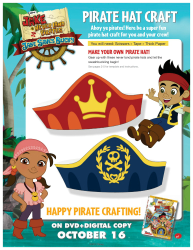 Jake and The Neverland Pirates Printable Pirate Hat Craft