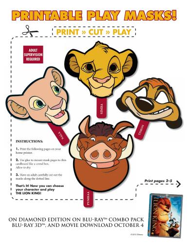 Lion King Simba, Nala, Timon & Pumba Printable Masks