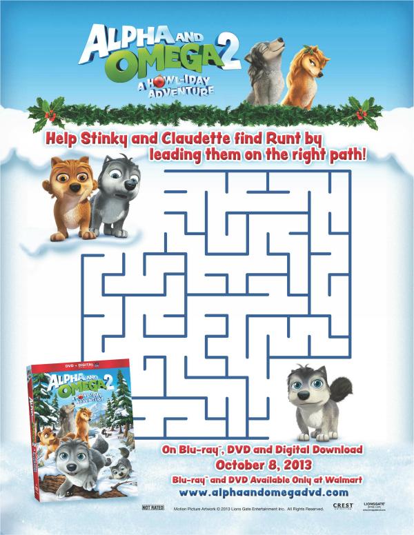 Alpha and Omega 2 Howl-iday Adventure  Printable Holiday Maze
