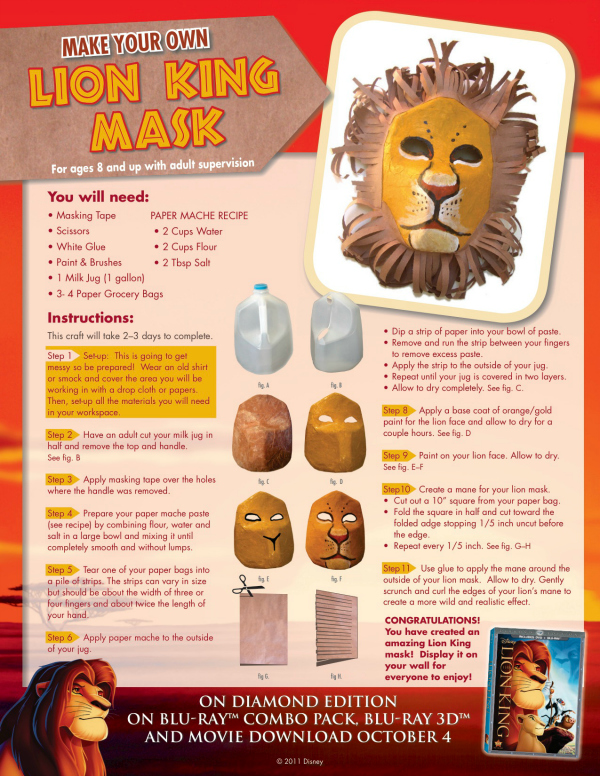 Make Your Own Lion King Mask Craft - Free Printable Disney DIY Instructions