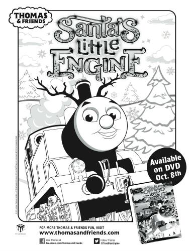 Thomas: Santa's Little Engine Printable Coloring Sheet