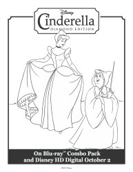 Cinderella and Her Fairy Godmother Printable Coloring Sheet