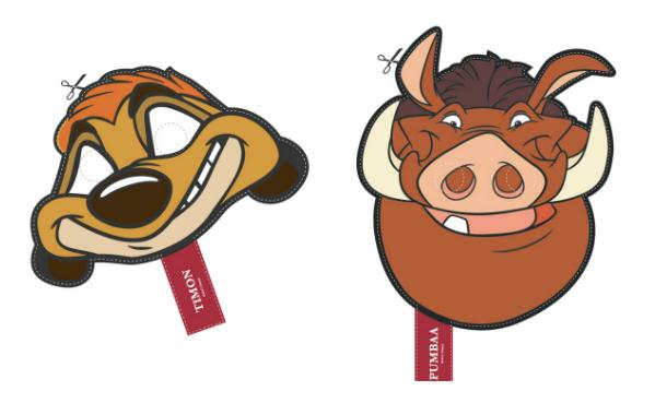 Timon & Pumba Printable Masks