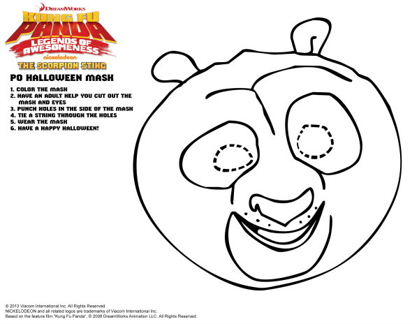 Kung Fu Panda Po Printable Mask Craft