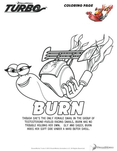 Turbo Printable Coloring Page - Burn