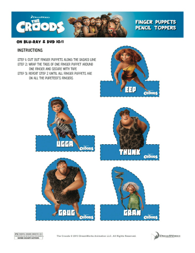 The Croods Finger Puppets Printable Craft