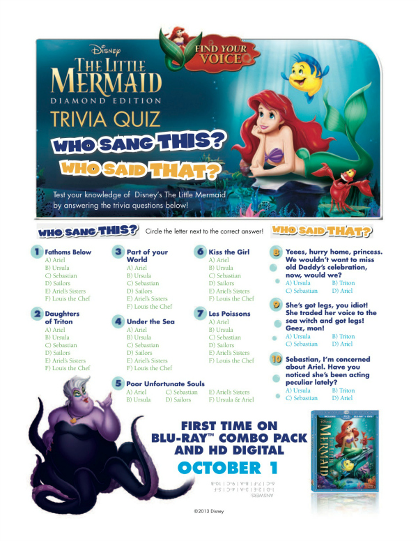 Little Mermaid Printable Trivia Game