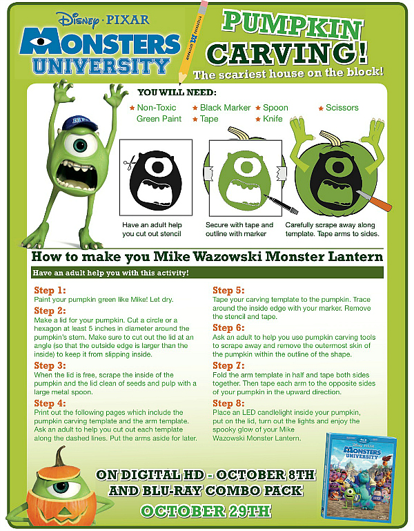 Monsters University Printable Pumpkin Carving Template Mike Wazowski Mama Likes This