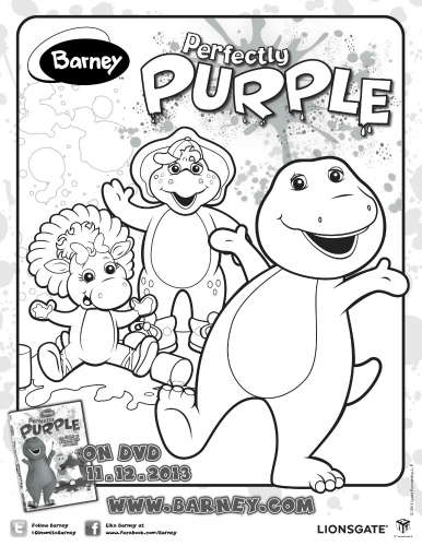 Barney Perfectly Purple Coloring Page