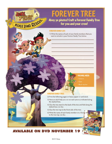 Disney Jake and the Neverland Pirates Family Tree Craft