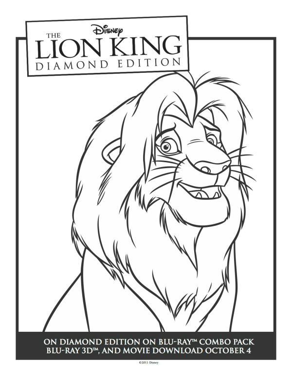 Lion king simba printable coloring sheet mama likes this for Lion king christmas coloring pages
