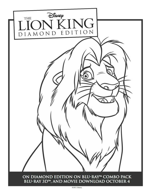 Lion King Simba Printable Coloring Sheet