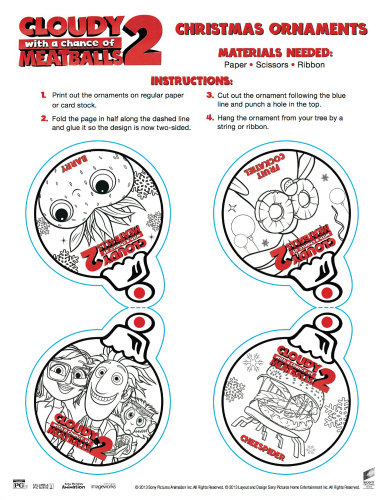 Cloudy with a Chance of Meatballs Printable Christmas Tree Ornaments