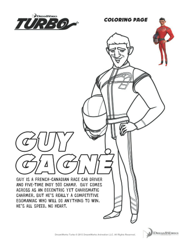Turbo Printable Coloring Page - Guy Gagne