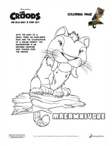 The Croods Macawnivore Coloring Sheet