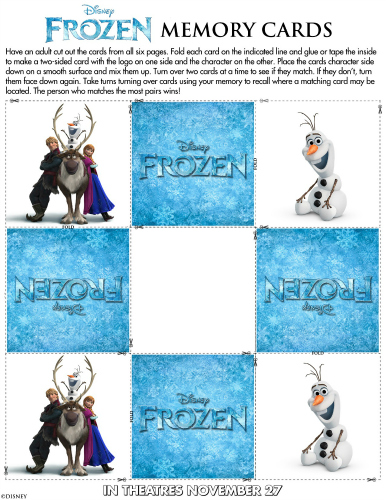 Disney Frozen Printable Memory Card Game
