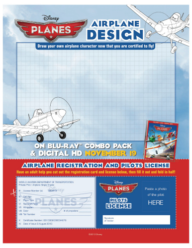 Disney Planes Printable Pilot's License and Airplane Registration