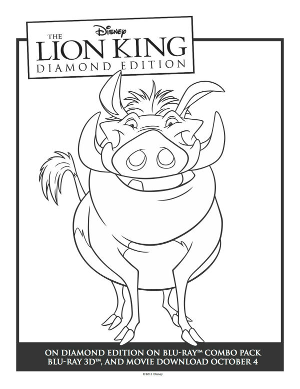 Printable Lion King Pumbaa Coloring Sheet