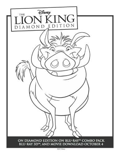 Printable Lion King Pumbaa Coloring Sheet | Mama Likes This
