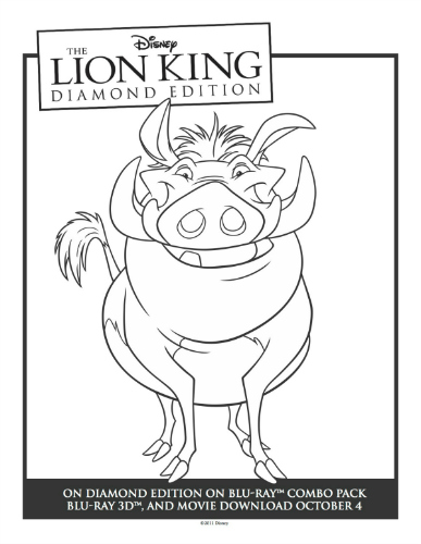 Printable Lion King Pumbaa Coloring Sheet Sweeps4bloggers