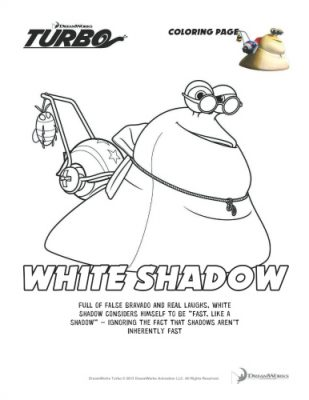 Turbo Printable Coloring Page – White Shadow