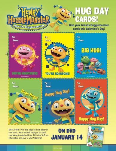 Henry Hugglemonster Printable Valentine's Day Cards