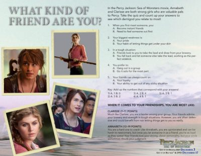 Percy Jackson What Kind of Friend Are You? Printable Quiz