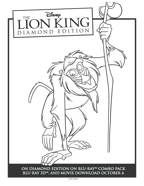 Printable rafiki lion king coloring sheet mama likes this for Lion king christmas coloring pages