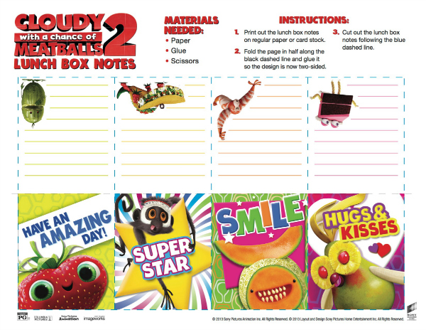 Cloudy with a Chance of Meatballs 2 Printable Lunch Box Notes